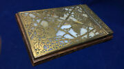 Antique Studios Note Pad Gilded Bronze Grapes And Leaves Amber Slag Glass