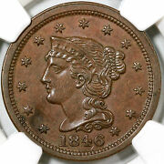 1846 N-19 R-4 Ngc Ms 61 Bn Braided Hair Large Cent Coin 1c