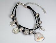 Zara Leather Name Bracelet 18ct White Gold Plated Charms Christmas Birthday Gift