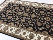 6 X 9 Black Ivory Floral Oriental Area Rug Wool Hand Knotted Living Room