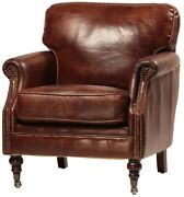 33 Wide Club Arm Chair Vintage Brown Cigar Italian Leather Comfort Cool