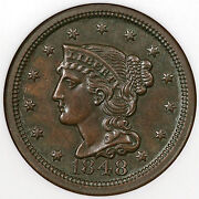 1848 N-15 Ngc Ms 63 Bn Eds Cc Braided Hair Large Cent Coin 1c Ex Jules Reiver