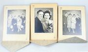 1947 10x14 Wedding Day Portraits Of Couple Family Set Of 3 - Mckees Rocks Pa