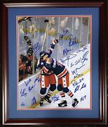 1980 Usa Olympic Hockey Entire Team Signed 16x20 Photo Framed 20 Auto Le/9 Psa