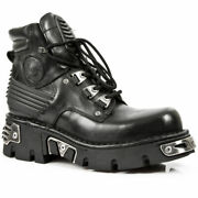 Newrock New Rock M.924-s1 Metallic Mens Black Gothic Boot Leather Boots