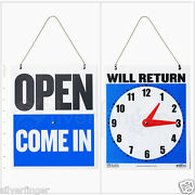 • Open Closed Sign / Will Return • Clock Business Hours —hanging 2-sided 9x7½