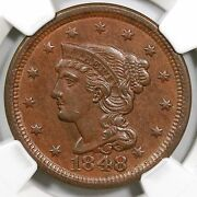 1848 N-17 Ngc Ms 63 Bn Tied Cc5 Braided Hair Large Cent Coin 1c Ex Holmes