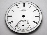 White Elgin Watch Dial For Pocket Watches 34mm Black Roman Numeral Mrkrs Vintage
