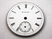 28.88mm Elgin White Watch Dial For Pocket Watches Vintage Black Roman Numeral Mr