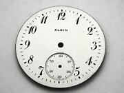 42.37mm Elgin Watch Dial For Pocket Watches Vintage White Numeral Markers Nos