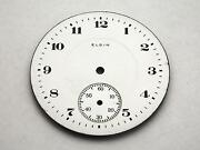 White Elgin Watch Dial For Pocket Watches Vintage Numeral Markers 42.27mm Nos