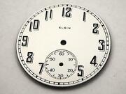 37.75mm White Watch Dial For Pocket Watches Vintage Black Numerl Mrkrs Elgin