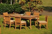 Dsgv Grade-a Teak 7pc Dining 71 Rectangle Table 6 Armless Chair Set Outdoor New