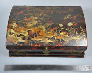Antique Qing China Chinese Lacquered Wig Box Etui Case Jewelry Phoenix18 C