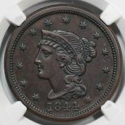 1844 N-2 Ngc Unc Details Braided Hair Large Cent Coin 1c