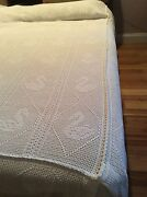 Vintage Hand Crochet White Queen Bedspread With Swan Drawings