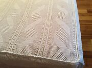 Vintage Hand Crochet White Queen Bedspread With Asymmetric Drawings