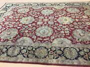 9 X 12.4 Red Black Agra Floral Oriental Area Rug Hand Knotted All Over