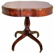 English Regency Style Mahogany Card Game Table, Leather Inset, Gold Tooling
