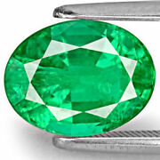 Zambia Emerald 3.09 Cts Natural Untreated Lustrous Velvet Green Oval