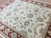 7.8 X 9.4 Beige Rust Fine Oushak Oriental Area Rug All Over Hand Knotted Foyer