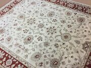 8.2 X 9.9 Ivory Red Ziegler Oriental Area Rug Hand Knotted All Over Wool