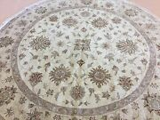10and039 X 10and039 Round Beige Traditional Ziegler Oriental Area Rug Hand Knotted Wool