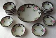 Antique Japanese Nippon Hand Painted Roses And Doves Footed Berry Or Nut Bowl Set