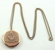 Antique 9 Ct Rose Gold Ww I Royal Artillery Insignia Sweetheart Locket And Chain