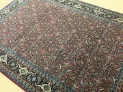 6and039 X 9and039 Red Navy Fine Geometric Oriental Area Rug Hand Knotted Geometric Foyer