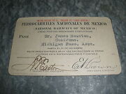1900's National Railways Of Mexico Railroad Train Pass Ticket Card