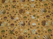 Colonial Vintage Primitive Turkeys Leaves Thanksgiving Tightly Woven Cotton