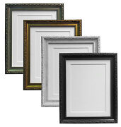 Shabby Chic Silver Picture Photo Frames And Choice Of 7 Different Coloured Mounts