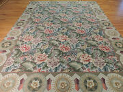 9x12 French Aubusson Needlepoint Oriental Area Rug Green Blue Red Purple