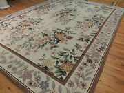 9x12 French Aubusson Needlepoint Oriental Area Rug Beige Purple Gold Brown Wool