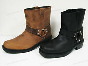 Brand New Menand039s Harness Boots Motorcycle Biker 6 Leather Riding Black Brown
