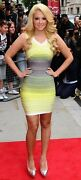 Nwt Authentic Herve Leger S Ombre Sunny Lime Off-shoulder Bandage Dress - 1590