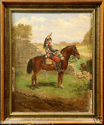 20th Century European Antique Oil Painting Of Soldier On Horse
