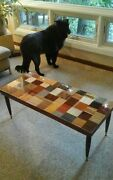 Mid Century Mersman Coffee Table Wood Bamboo Cork Up-cycled One Of A Kind