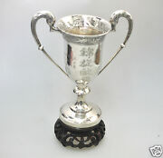 304 Gr. Antique Chinese Qing Export Solid Silver Goblet Cup Trophy China 1900