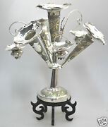 302 Grs Antique Chinese China Export Solid Silver Candle Stick Epergne 1900