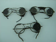 Vintage Motorcycle Glasses Ao Safety Goggles Riding Steampunk Set 3 Leather