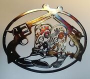Cowboy Boots And Pistols, Western Wall Decor Metal Art, 23.5