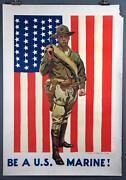 James Montgomery Flagg Be A U.s. Marine Vintage Wwi Poster 1918