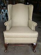 Antique Light Brown Wing Chair Reupholstered Made In Usa