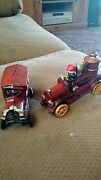 Boys Red Cast Iron Truck And Fire Engine Vintage Collectible Circa 1920- 1940