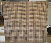 Rare And Unique Antique 1840 American Overshot Woven Coverlet 80 X 72