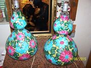 50and039s Mid Century Modern Alvino Bagni Italy Hand Made Pair Of Pottery Table Lamps