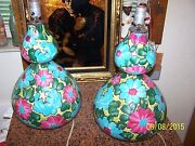 50's Mid Century Modern Alvino Bagni Italy Hand Made Pair Of Pottery Table Lamps