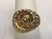 24 Kt Chinese Panda Bear Coin Set In 14 Kt Solid Gold Coin Ring